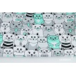 Cotton 100% gray and mint cats