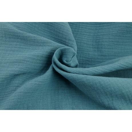 Muślin bawełniany, przygaszony niebieski