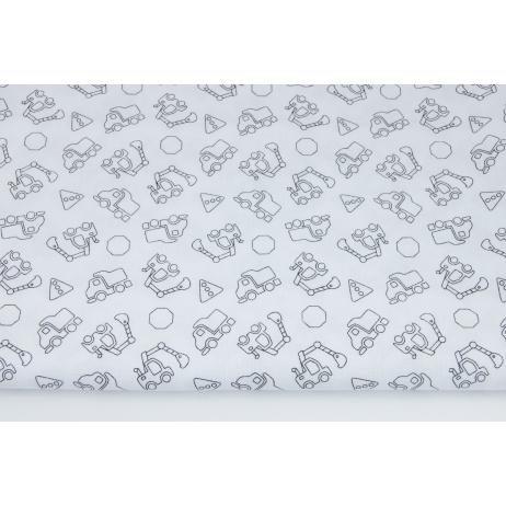 Bawełna 100% małe koparki na białym tle