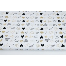 Cotton 100% gold and black hearts on a white background