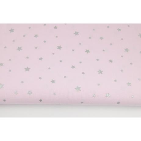 Bawełna 100% srebrne gwiazdki na różowym tle