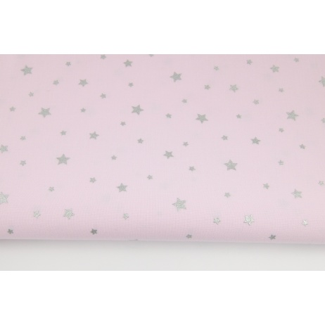 Cotton 100% silver stars on a pink background