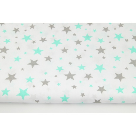 Cotton 100% mix gray and mint stars