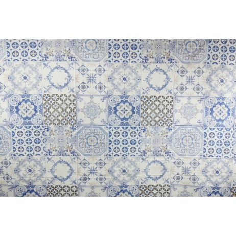 Bawełna 100% kafelki niebiesko-beżowe XL 220 cm