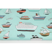 Cotton 100% ships on a turquoise background