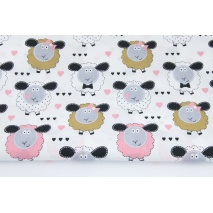 Cotton 100% sheeps, hearts on a white background