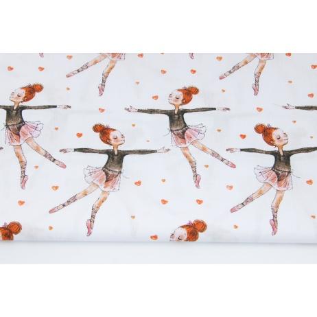 Bawełna 100% malowane baletnice, serduszka na białym tle