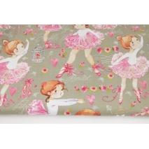 Bawełna 100% duże malowane baleriny na chłodnym beżowym tle