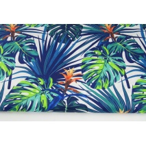 Cotton 100% palm leaves navy blue and green