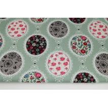 Cotton 100% floral napkins on a sage background