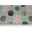 Cotton 100% floral napkins on a sage background