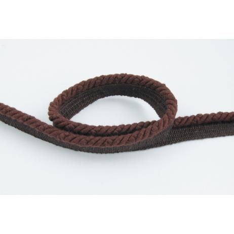 Sznurek bawełniany brązowy z taśmą o średnicy 6mm