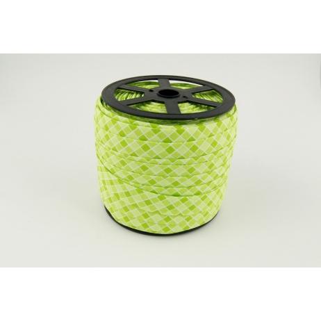 Lamówka bawełniana zielona kratka o szerokości 5mm