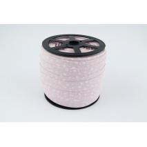 Cotton bias binding white meadow on a powder pink background