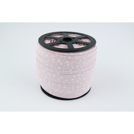 Cotton bias binding white meadow on a powder pink background