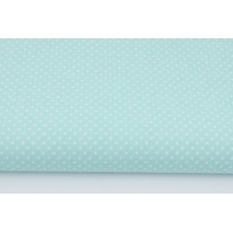 Cotton 100% white dots 2mm on a chilly mint background