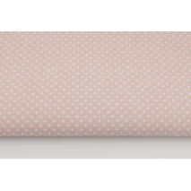 Bawełna 100% kropki białe 2mm na pudrowym różu