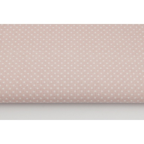 Cotton 100% white dots 2mm on a powder pink background