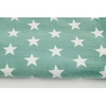 Polar fleece double sided white stars on a sage background