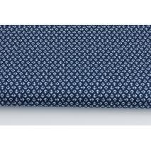 Drelich, bawełna 100%, mini kotwice na granatowym tle
