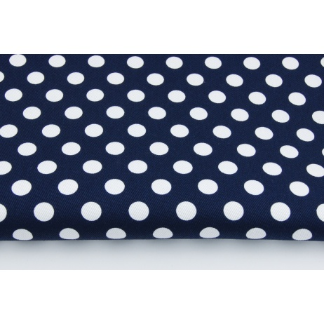 Drill 100% cotton, white 13mm dots on a navy background