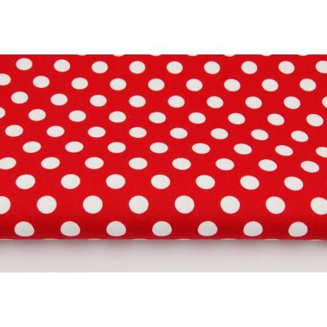 Drelich, bawełna 100%, kropki 13mm na czerwonym tle