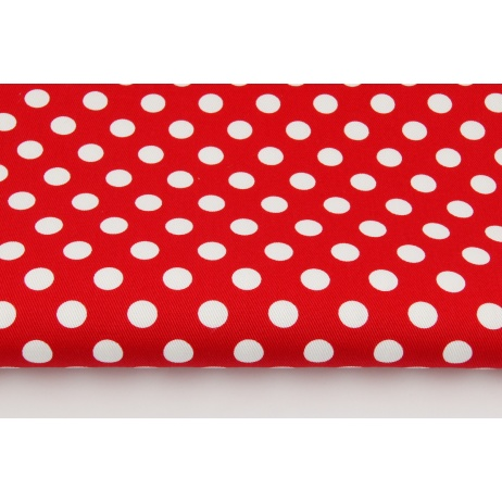 Drill 100% cotton, white 13mm dots on a red background