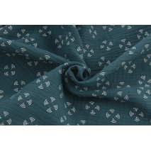 Double gauze 100% cotton windmills on a turquoise-green (petrol) background