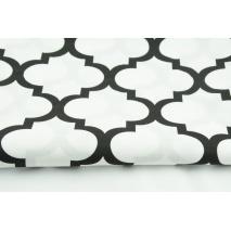Bawełna 100% czarna koniczyna marokańska na białym tle - II jakość
