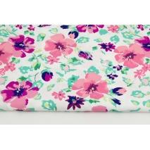 Bawełna 100% malowane kwiaty koralowo-fioletowe na białym tle