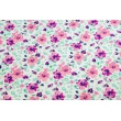 Cotton 100% painted flowers coral-violet on a white background