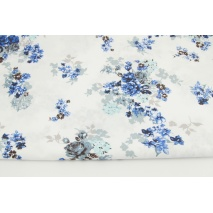 Cotton 100% gray-blue roses on a white background