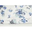 Bawełna 100% szaro-niebieskie róże na białym tle