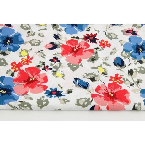 Bawełna 100% malowane kwiaty czerwono-niebieskie na białym tle