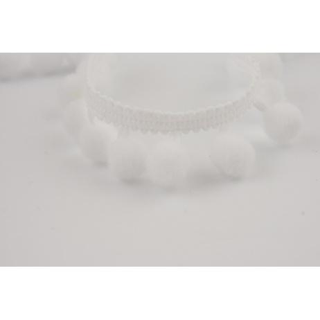Tasiemka z pomponami biała (mała)