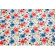 Cotton 100% painted flowers red-blue on a white background