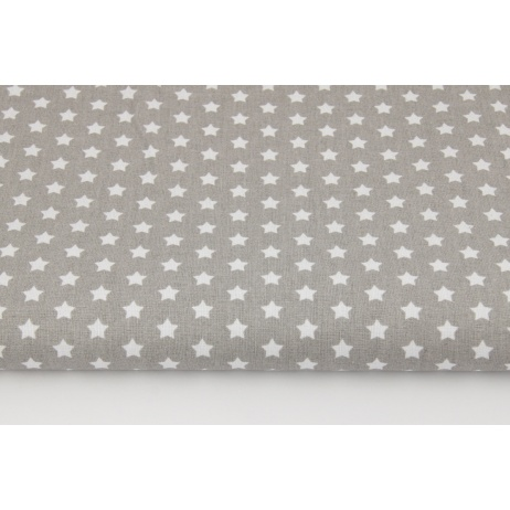Cotton 100% white stars 8mm on a gray background G