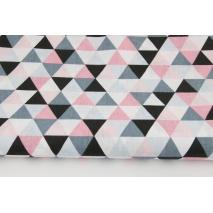 Bawełna 100% średnie trójkąty różowo-szaro-czarne