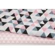 Cotton 100% medium triangles pink-gray-black