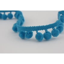 Ribbon turquoise small pom-poms