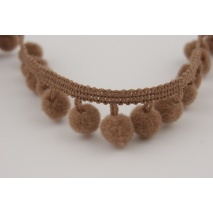 Ribbon brown small pom poms