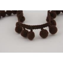 Ribbon chocolate brown small pom poms