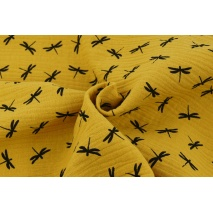 Double gauze 100% cotton, black dragonflies on a mustard background