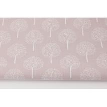 Bawełna 100%, białe drzewka na brudnym wrzosie (batyst)