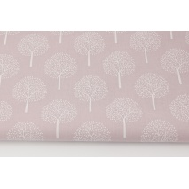 Cotton 100% white trees on a dirty heather background (batiste)