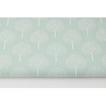 Bawełna 100%, białe drzewka na pudrowej mięcie (batyst)