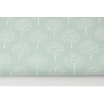 Cotton 100% white trees on a powder mint background (batiste)