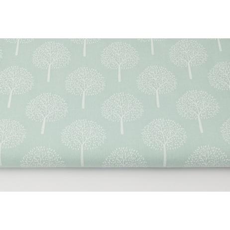 Cotton 100% white trees on a powder mint background (batiste)