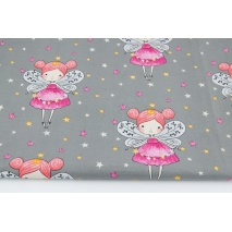Cotton 100% fairies on a dark gray background with stars