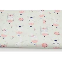 Bawełna 100% króliczki na huśtawkach na delikatnym miętowym tle